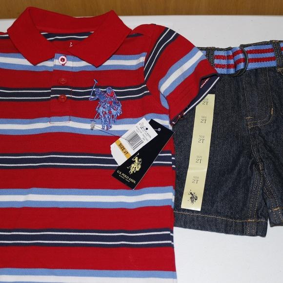 U.S Boys/' 2-Piece Rashguard T-Shirt and Swim Trunk Set Polo Assn